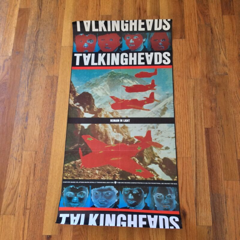 TALKING HEADS REMAIN IN LIGHT - RARE PROMO POSTER FROM 1980 - 36 X 18 EXCELLENT