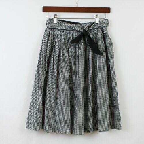 VTG 1950s Girls Circle Skirt Black White Gingham High Waist 50s Rockabilly #B27
