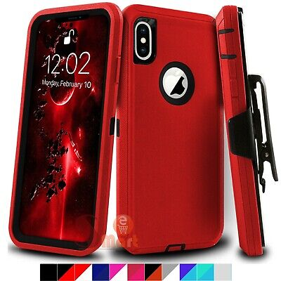 For iPhone X XS XR MAX Heavy Duty Rugged Shockproof Cover Case With Belt Clip
