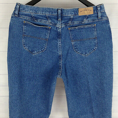 Denim Riders Womens Size 18 Stretch Blue Medium Wash Thick Tapered Mom Jeans - Riders Womens Denim Blue Jeans