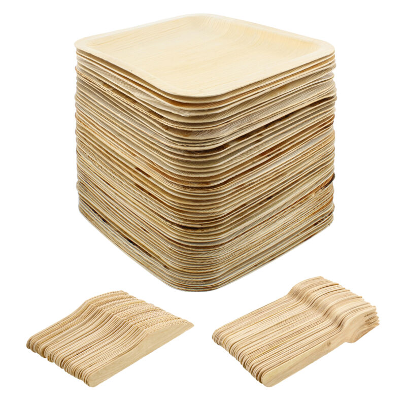 Spec101 Palm Leaf Plates - 8IN Square Biodegradable Plates and Cutlery, 150pc