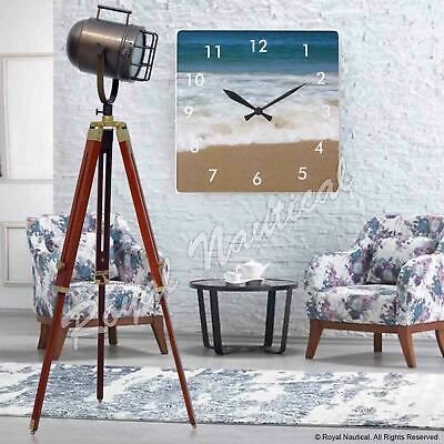 Wooden Tripod Floor Lamp Nautical Spotlight Vintage Style LED Light Home Office