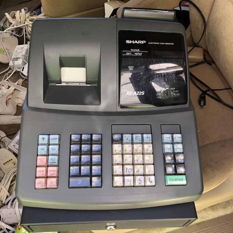 Sharp Electronic Cash Register XE-A22S No Keys !!!  FREE SHIPPING