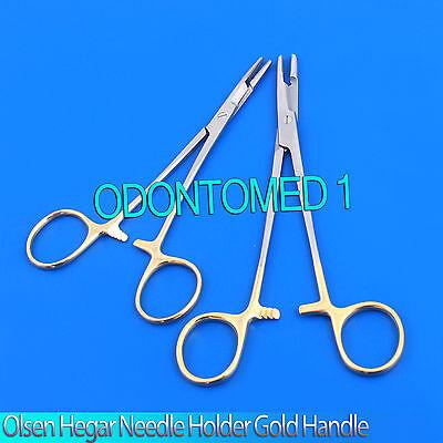 2 Gold Handle O.r Grade Olsen Hegar Needle Holders Hemostat Scissors 5.5 6.5