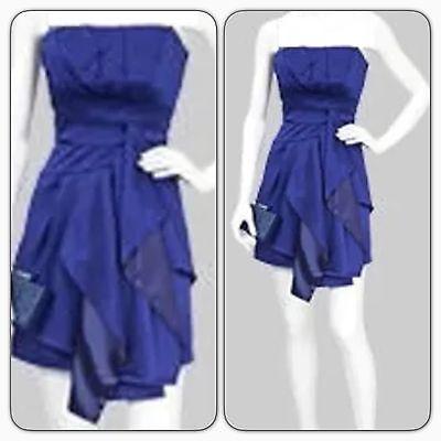 Karen Millen DG049 Blue Silk Folded Hem Strapless Evening Occasion Dress 6 - D & G Occasions
