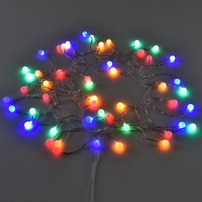 50 LED 12m Kugelkette + Netzteil Lichterkette Weihnachts Beleuchtung Innen/außen