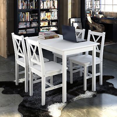 #bNew 1 Wooden Table with 4 Wooden Chairs Home Dining Room Furniture Set White