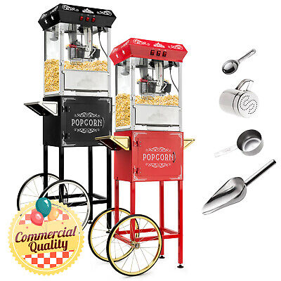 Vintage Style Popcorn Machine Maker Popper with Cart and 10-