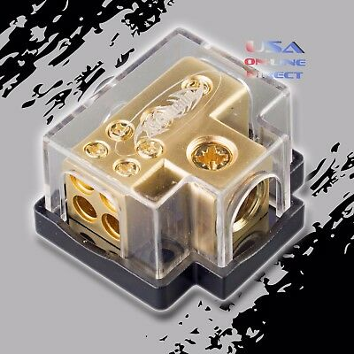 Gold Power Ground Distribution Block 0248 Gauge In 4 8ga Out Marine Car Awg
