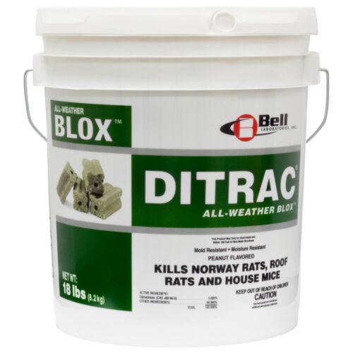 Ditrac Rat Mouse Rodent Bait Blocks ( 18 Lbs) All Weather Blox Kills Rats Mice