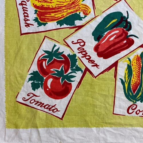 Vintage Tablecloth Harmony House Vegetables Seed Packets Veggies HTF
