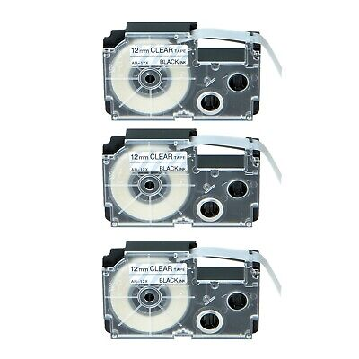 3pk Xr-12x Black On Clear Label Tape For Casio Ez Kl-120 Printer 12 X 26