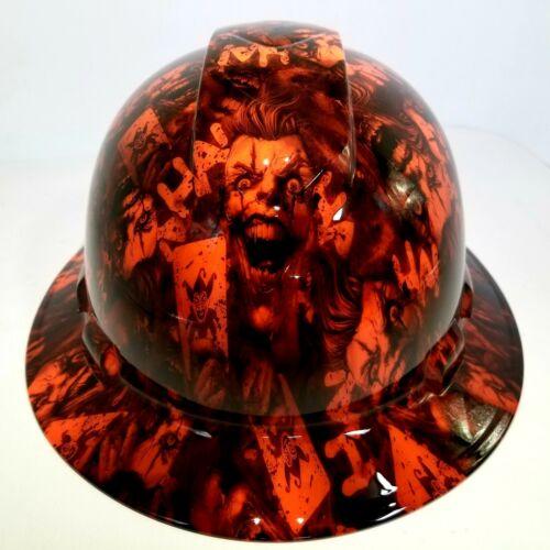 FULL BRIM Hard Hat custom hydro dipped, NEW OUTRAGEOUS ORANGE JOKER HA HA