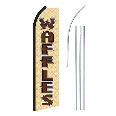 Waffles Banner Flag Pole Only Tan Brown Advertising Sign Swooper Feather