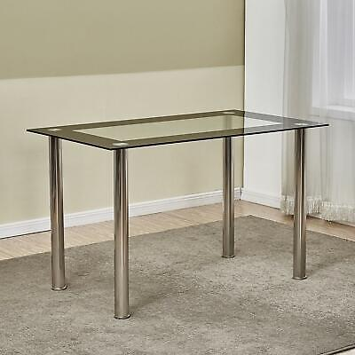 New Modern Tempered Glass Dining Table Metal Leg Kitchen Home Furniture Clear