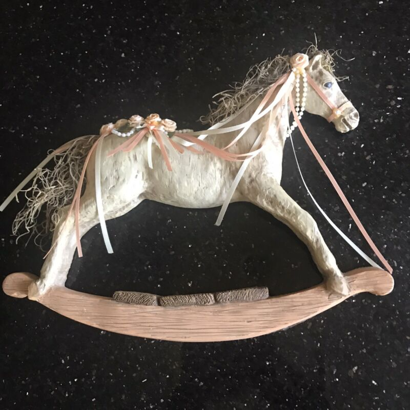 Vintage Resin Rocking Horse Pink Flowers Wall Plaque