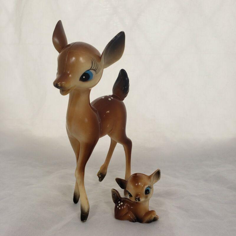 "Vintage Christmas 7"" Plastic Big Eye Reindeer Fawn Baby Figurine Bambi 60's"