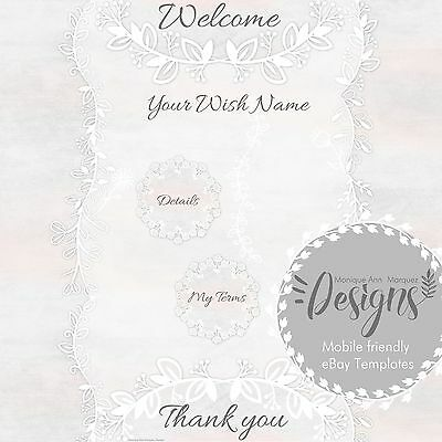 SOFT PASTEL ROSE` eBay Auction Listing Template Mobile friendly Responsive |567E