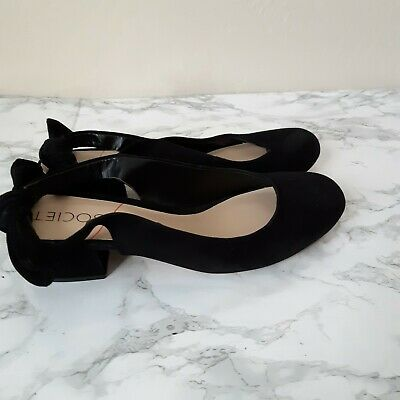 Round-toe Slingback Pump (SOLE SOCIETY OPAL Womens 8.5 Black Round Toe Low Pump Sling Back Knot)