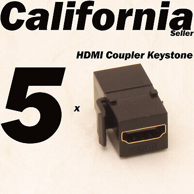 5 Pack Lot HDMI Keystone Wall Plate Snap-In Jack Insert Coupler Female Black  (Hdmi Wall Plate Insert)