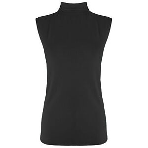 Womens Polo Neck Top Ladies Stretch Vest Turtle High Neck Bodycon T Shirt 8-14