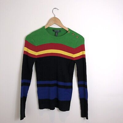 Vintage Ralph Lauren Bright Coloured Striped Knit Jumper Women's Size Small