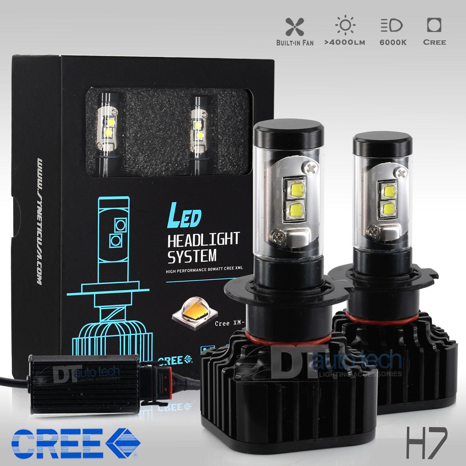 80w 8000lm h7 cree led headlight kit low beam light bulbs 6000k white high power ebay. Black Bedroom Furniture Sets. Home Design Ideas