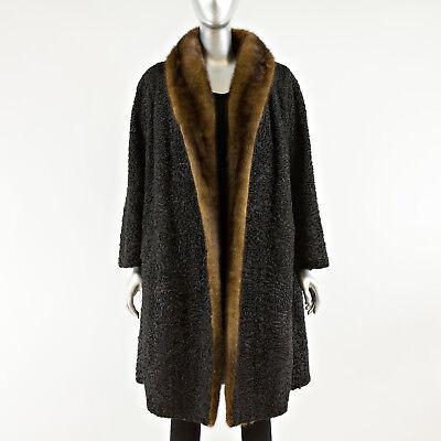Black Persian Lamb Fur Coat with Mahogany Mink Tuxedo - Size S Mink Tuxedo