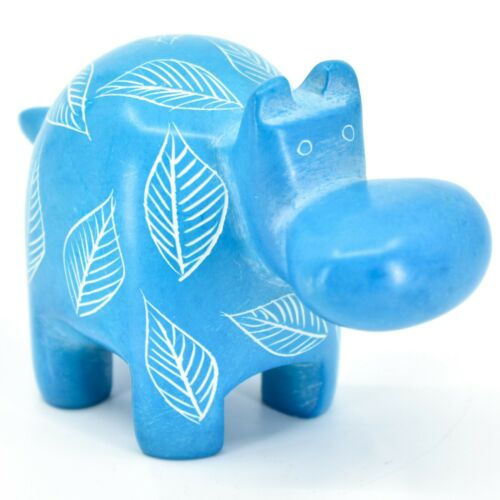 Vaneal Group Hand Crafted Carved Soapstone Light Blue Hippopotamus Hippo Figure