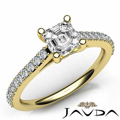 Asscher Diamond Double Prong Set Engagement Ring GIA G VS2 18k White Gold 0.8Ct 7