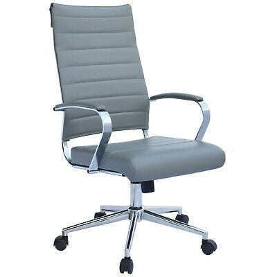 High Back Ribbed Leather Adjustable Cushion Office Chair Computer Desk Seat