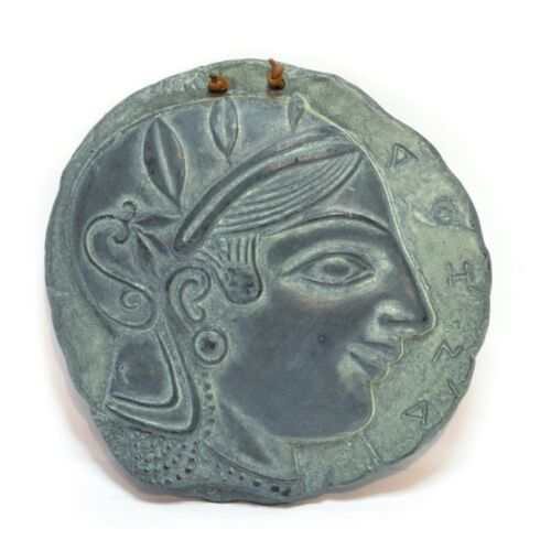 Vintage 3D Greek Lady Souvenir Round Wall Ceramic Plaque Antique Finish Green
