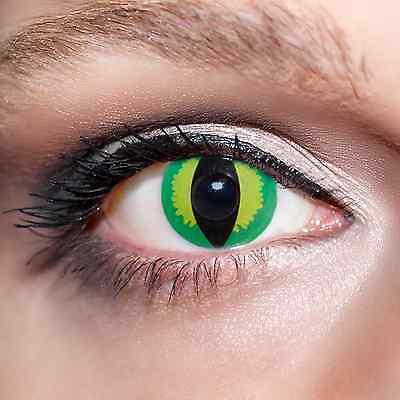 2 Grüne Kontaktlinsen mit Behälter -Halloween- Drache, farbige Katzenaugen;K525