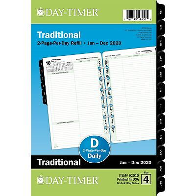 2020 Day-timer 5 12 X 8 12 Two Page Per Day Refill Classic 92010- 24390810