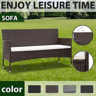 Garden Furniture - vidaXL 3-Seater Garden Sofa with Cushions Poly Rattan Seating Multi Colours