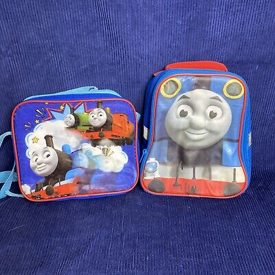 """Thomas The Train And Friends Lot of 2 Blue 9.5"""" Insulated Lunch Bag Lunchbox"""