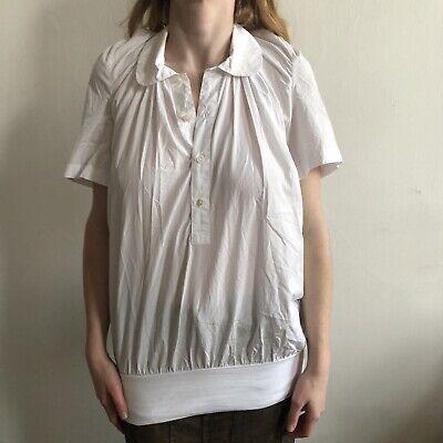 JUNYA WATANABE Ss07 Oversized Pleated Knit Hem Short Sleeve Half Buttoned Shirt