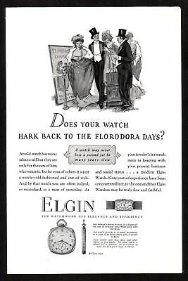 1920s Original Vintage Elgin Pocket Watch Florodora Art Paper Print Ad