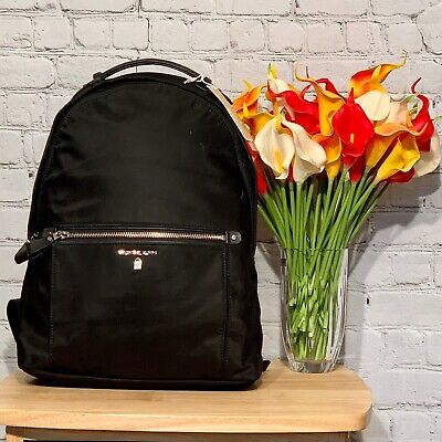 NWT!! Michael Kors Kelsey Black Large Nylon Backpack With Silver Hardware