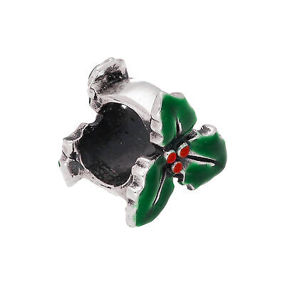 925 Real Sterling Silver Enamelled Holly Leaf Bead Charm Xmas Winter Beads