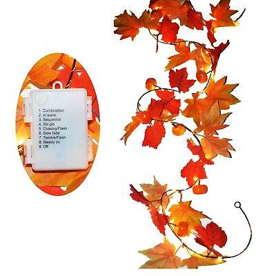 3 AA Battery Powered Lighted Fall Garland with 8 Mode - 8.2 Feet