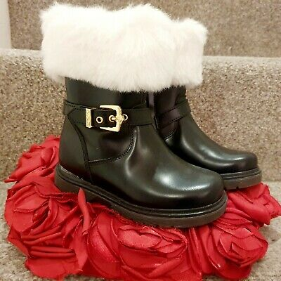 Genuine Versace Young Kids Girl Fur Black Leather Boots Shoes 24 Eur ( uk7)