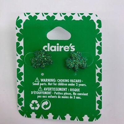 Claire's St Patricks Day Earrings Green Glitter Shamrock Irish 3 Leaf Clover - Glitter Shamrocks