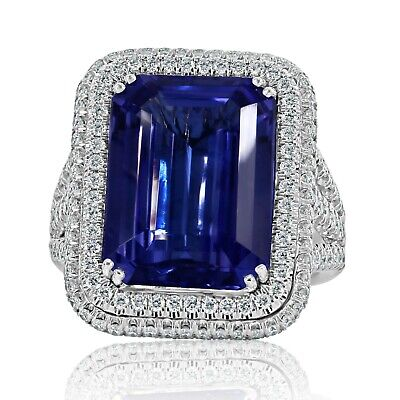 GIA 11.31Ct Blue Violet Natural Tanzanite Diamond Engagement Ring 14k White Gold