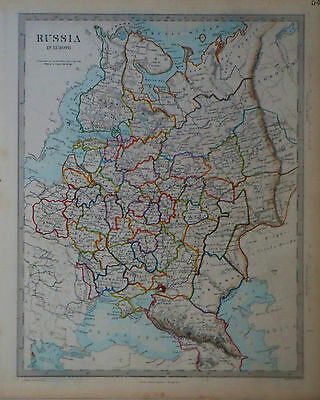 1847 Genuine Antique hand colored map of Russia in Europe. 9 page set.  SDUK