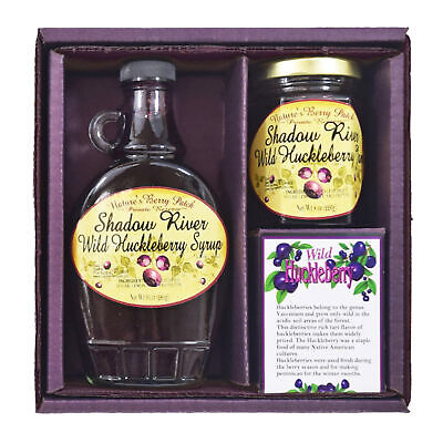 Shadow River Wild Huckleberry Gourmet Boxed Gift Set 8 oz Jam & 10 oz Syrup