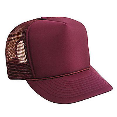 Maroon Trucker Hat - Foam Mesh Cap - Adjustable Snapback Burgundy