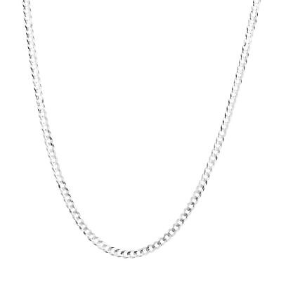 """10K Solid White Gold Mens Womens 3mm Curb Cuban Chain Link Pendant Necklace 22"""""""