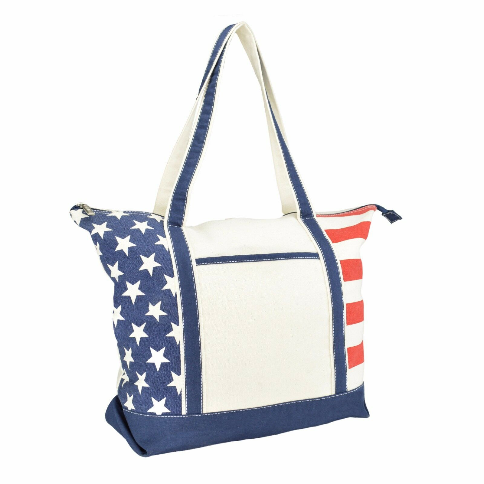 DALIX Stars and Stripes Zippered Cotton Canvas USA Shopping