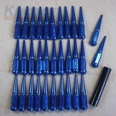 """Spike Lug Nuts Blue With Key 32 Pcs Set 9/16"""" For 1994-2011 Dodge RAM 3500 2500"""